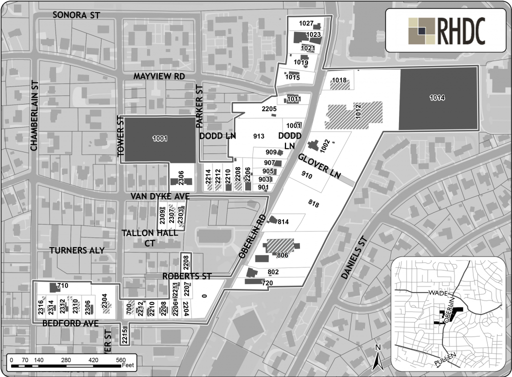 An area map of Oberlin Village.