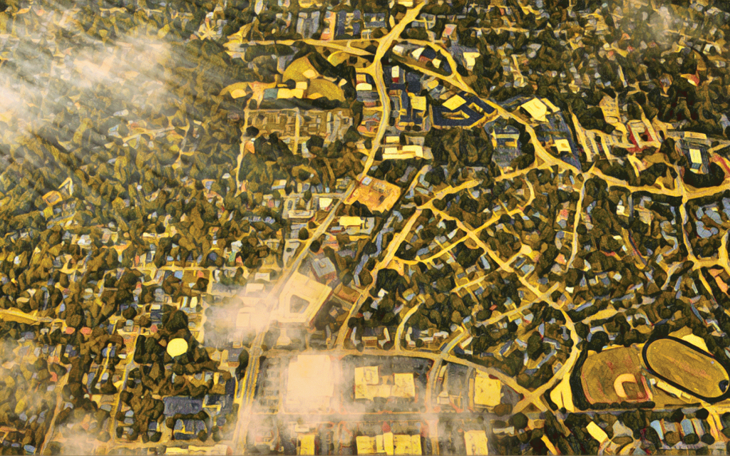 Art work of Aerial Oberlin Map. Credit Clay Rodery and The Assembly.